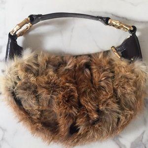 Fox fur Gucci Bamboo Handbag